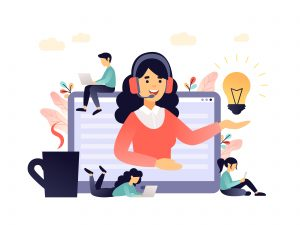 Concept customer and operator, online technical support 24-7 for web page. Vector illustration female hotline operator advises client. Online assistant, virtual help service in living coral palette