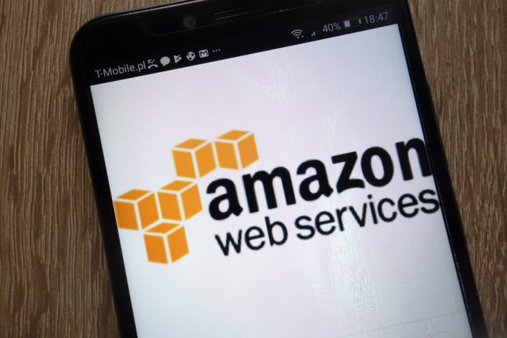 Amazon Web Services logo displayed on a modern smartphon